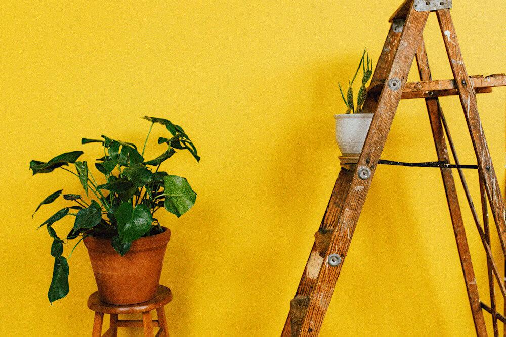 Drewniana drabina na żółtym tle